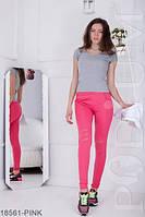 Яркие молодежные леггинсы с карманами и разрезами на коленях  Amori