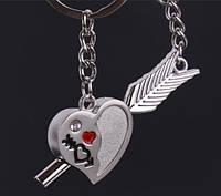 Парнібрелоки для закоханих Серце зі стрілою /Парные брелки для влюбленных - Сердце + стрела с крыльями)