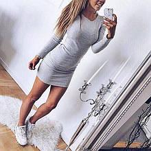 Короткий трикотажне плаття з довгим рукавом, що облягає, 8 кольорів, (40-46)