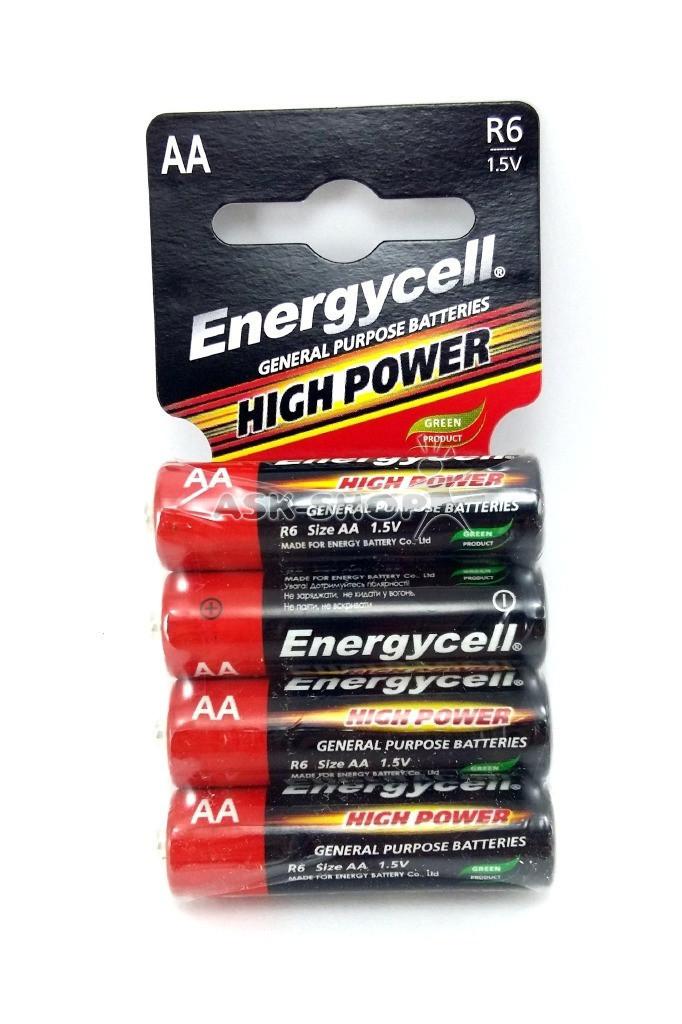 Батарейки АА солевые 1.5V 4 шт Energycell High Power R6