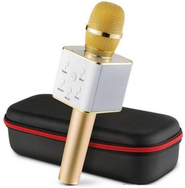 Bluetooth MagicMusic Q7 Караоке беспроводной микрофон колонка с чехлом Gold (Золотой)