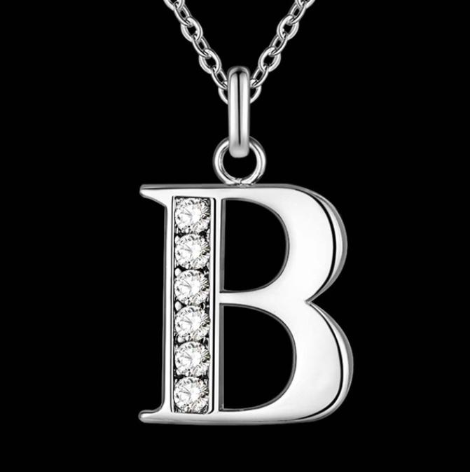 Подвеска с цепочкой буква B, покрытие серебро, вставки куб. цирконий