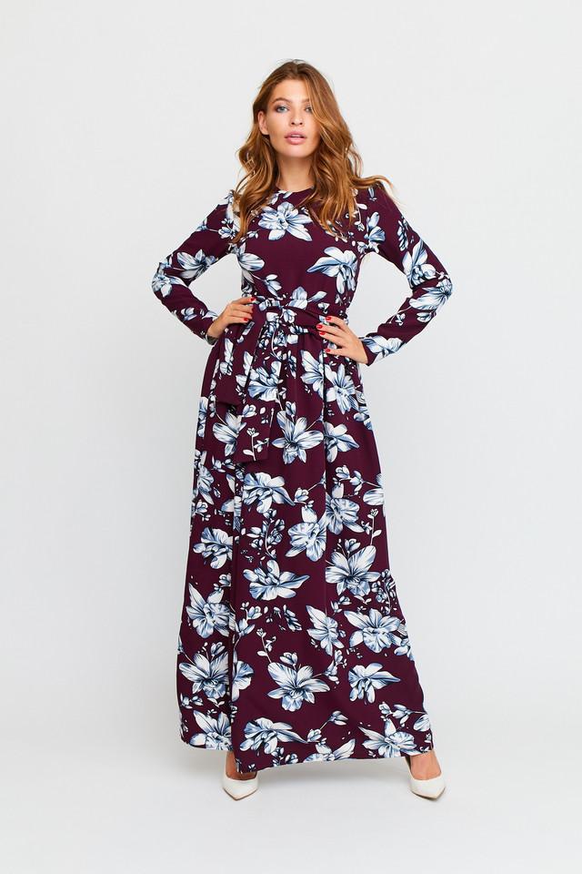 Женское длинное платье, р. от 42 до 46, марсала с цветочным принтом