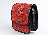 Женская кожаная сумка ручной работы (метод горячего тиснения), красная сумка
