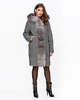 Женское зимнее серое пальто в клетку с мехом 42-50 р