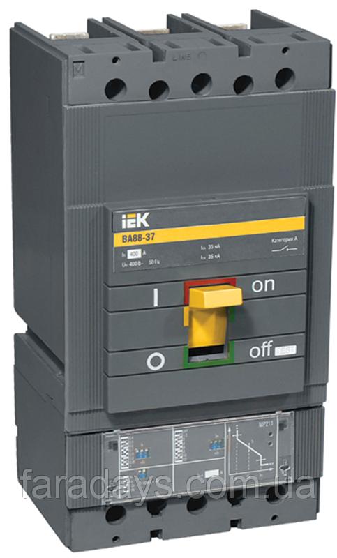 Автоматичний вимикач 3р, 35кА, 160-400A,  з електронним розчіплювачем  (ВА88-37 з розч. МР211 IEK)