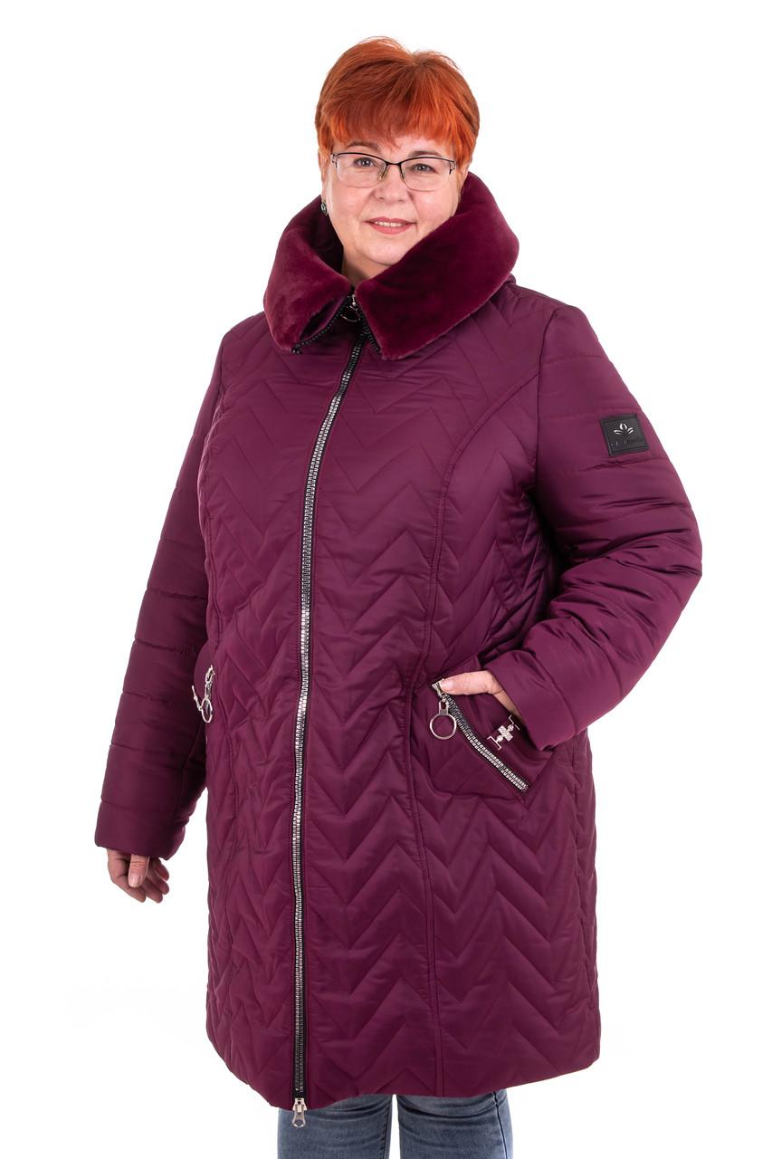 Пальто зимние женские большого размера   56-70 марсала