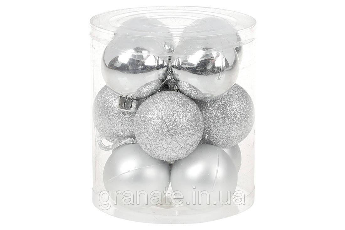 Новогодние елочные шары 4см, цвет - серебро, 12 шт: глянец, матовый, глиттер