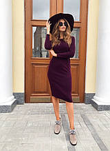 Тепле ангоровое плаття міді з довгим рукавом, 4 кольори (40-46)