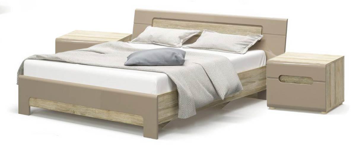 Кровать с тумбами прикроватными система Флоренс 160х200 секвойя (с ламелями) Мебель Сервис