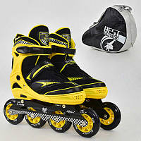 ".Ролики 6014 ""L"" Yellow - Best Roller /размер 39-42/ (6) колёса PU, без света, d=9см"