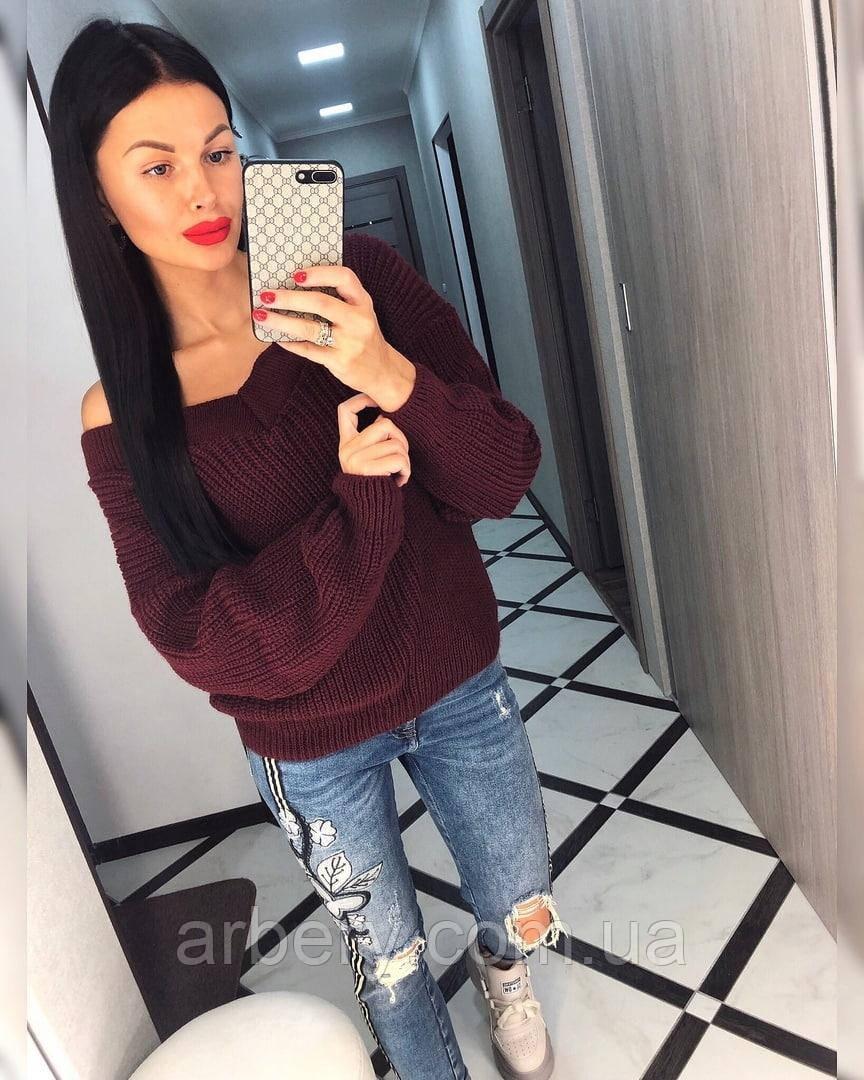 Женский свободный вязанный свитер
