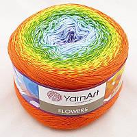 Yarnart Flowers №255 оранжево-желто-зелено-голубо-лиловый