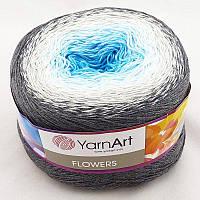 Yarnart Flowers №251 серо-бело-голубо-бирюзовый