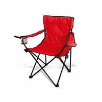 Раскладное кресло для рыбалки, складной стульчик, Паук с подстаканником красный