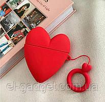 Чехол футляр для наушников AirPods Сердце красное +брелок силиконовый