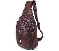 Мужская кожаная сумка-рюкзак Dovhani Bon318-3646 Темно-коричневая