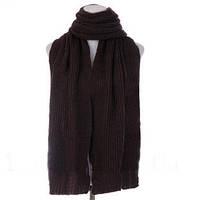Зимний объемный теплый однотонный женский шарф, коричневый