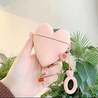 Чехол футляр для наушников AirPods Сердце +брелок силиконовый