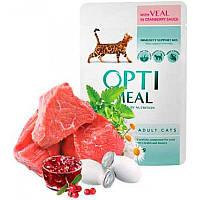 Консерва для кошек с телятиной в клюквенном соусе Optimeal (Оптимил) Защита иммунитета 85 г