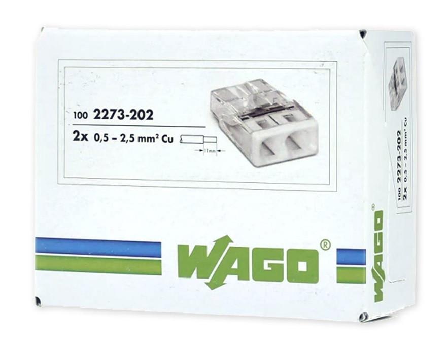 Клемма WAGO 2273-202 на 2 провода 0,5-2,5 mm² (оригинал)