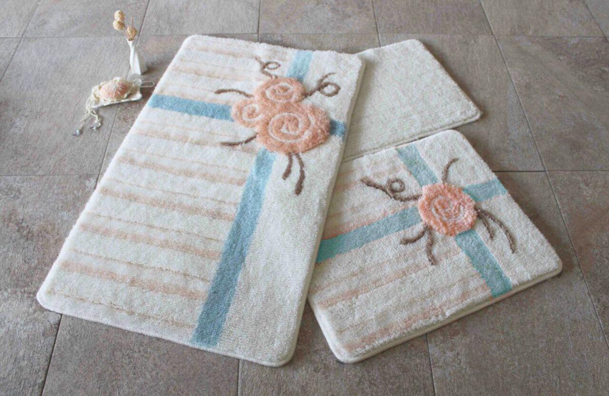 Набор ковриков 60х100, 50х60 и 40х60 в ванную комнату Alessia 1005