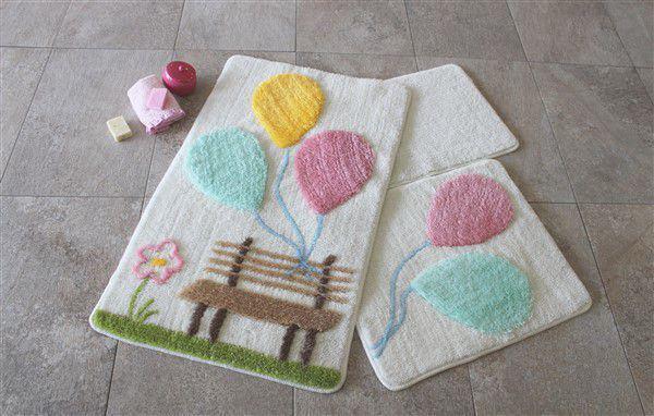 Набор ковриков 60х100, 50х60 и 40х60 Alessia 1026 в ванную комнату