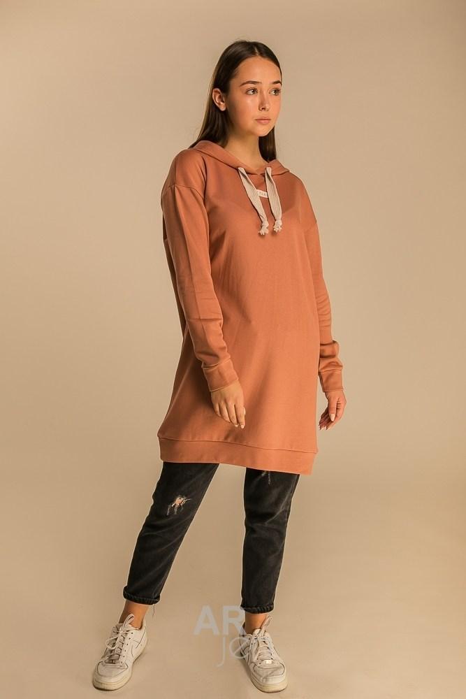 Демисезонное платье средней длины оверсайз с капюшоном цвет т.-бежевый