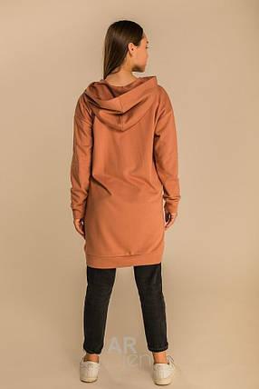 Демисезонное платье средней длины оверсайз с капюшоном цвет т.-бежевый, фото 2
