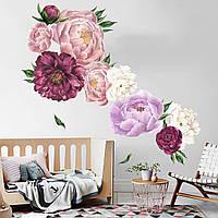 3D интерьерные виниловые наклейки на стены Пионы - цветы 60-40 см № 7 в детскую .Обои