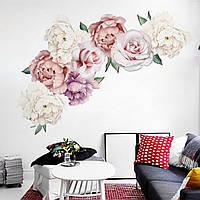 3D интерьерные виниловые наклейки на стены Пионы - цветы 2 листа 60-30 см № 8 в детскую .Обои