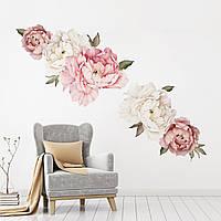 3D интерьерные виниловые наклейки на стены Пионы - цветы 60-45 см № 10 в детскую .Обои