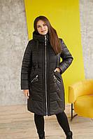 Женская зимняя теплая куртка с 234 / размер 48-68 / цвет черный