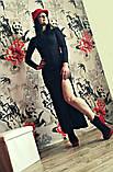Молодежное платье в пол с разрезом черный, фото 2