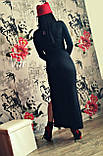 Молодежное платье в пол с разрезом черный, фото 3