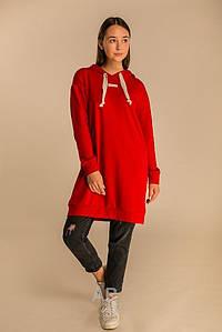 Осеннее платье спортивного стиля длина до колен длинный рукав цвет красный