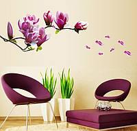 3D интерьерные виниловые наклейки на стены Цветы Магнолия 70-50 см в детскую .Обои