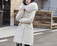 Куртка парка женская зимняя (бежевая)