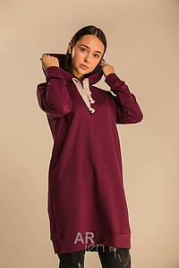 Стильное платье универсального размера с капюшоном миди цвет вишневый