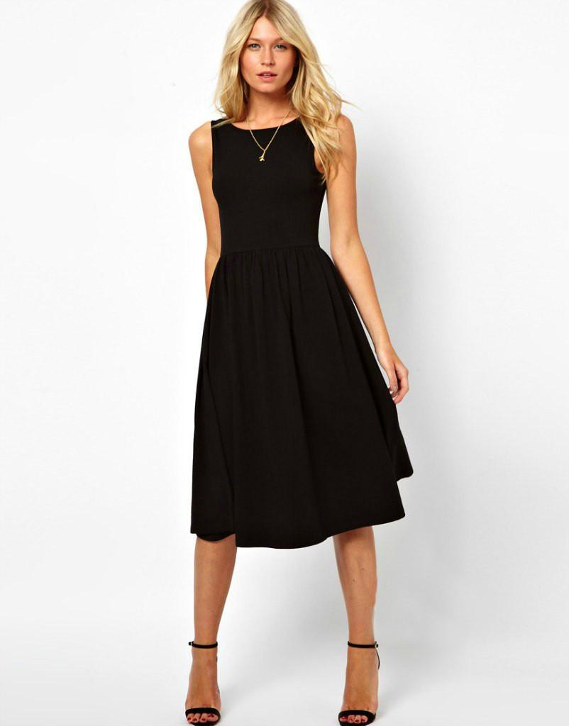 Стильное платье миди ретро-классика, без рукава