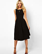 Стильне плаття міді ретро-класика, без рукава