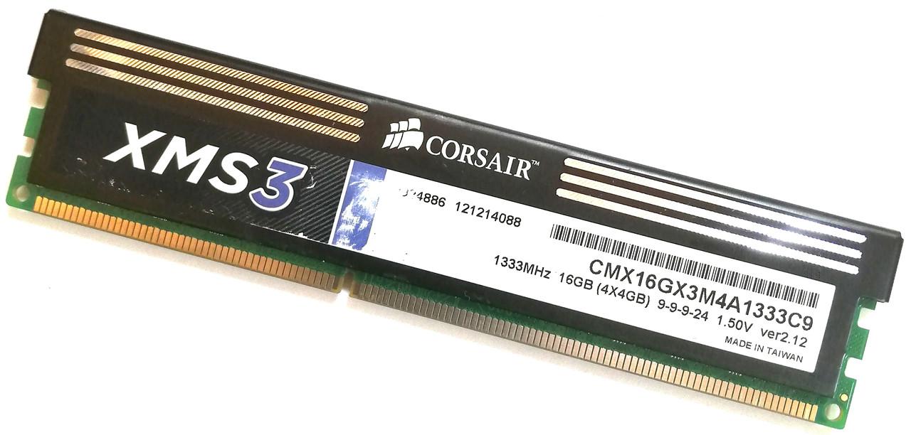 Игровая оперативная память Corsair DDR3 4Gb 1333MHz PC3 10600U 2R8 CL9 (CMX16GX3M4A1333C9) Б/У