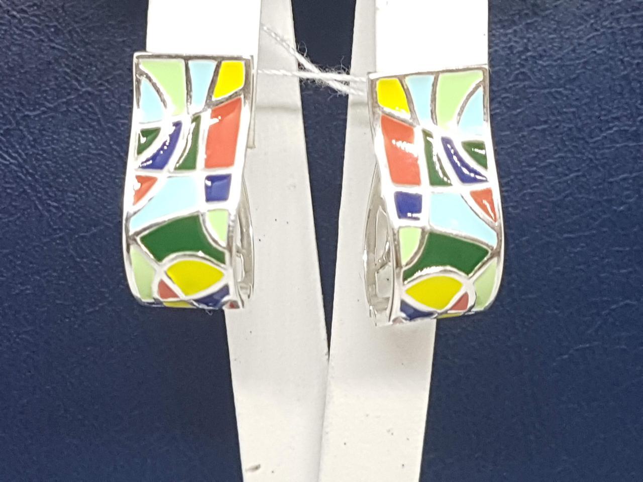 Серебряные серьги Энигма с эмалью. Артикул 2499