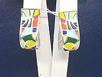 Серебряные серьги Энигма с эмалью. Артикул 2499, фото 1