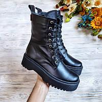 Женские ботинки Woodstock из натуральной кожи черного цвета
