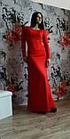 Вечернее платье в пол с разрезом расклешенное к низу красное, фото 3