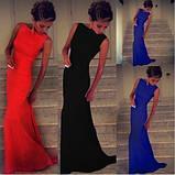 Шикарне плаття в підлогу зі шлейфом червоне, фото 2