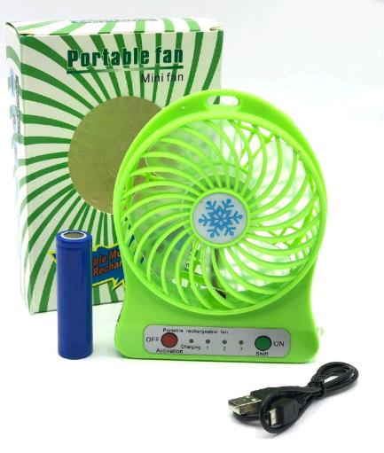 Портативный мини-вентилятор USB с аккумулятором Portable Mini Fan Зеленый