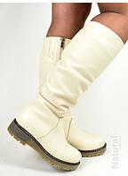 Сапоги Arcoboletto женские кожаные белые зимние на высокой подошве 37