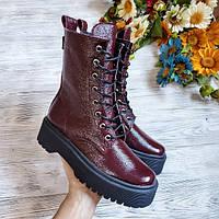 Женские ботинки Woodstock из натуральной кожи бордового цвета (лак)